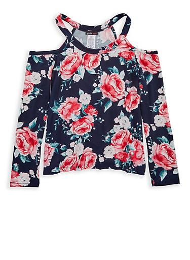 Girls 7-16 Floral Cold Shoulder Top,BLUE,large