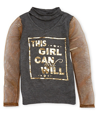 Girls 7-16 Graphic Print Mesh Sleeve Top,CHARCOAL,large