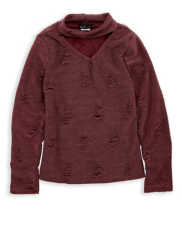 Girls 7-16 Distressed Keyhole Top,WINE,large