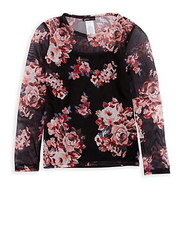 Girls 7-16 Long Sleeve Floral Mesh Top,BLACK,large