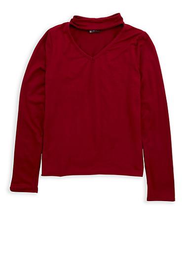 Girls 7-16 Soft Knit Keyhole Top,BURGUNDY,large