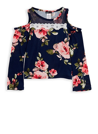 Girls 7-16 Floral Cold Shoulder Top with Mesh Insert,NAVY,large