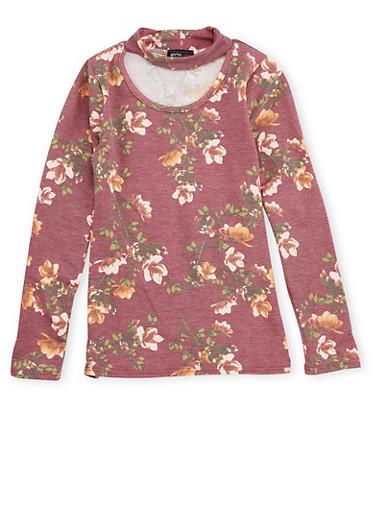 Girls 7-16 Floral Print Keyhole Top,WINE,large