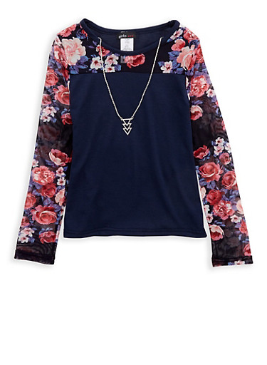 Girls 7-16 Navy Floral Mesh Top with Detachable Necklace,NAVY,large
