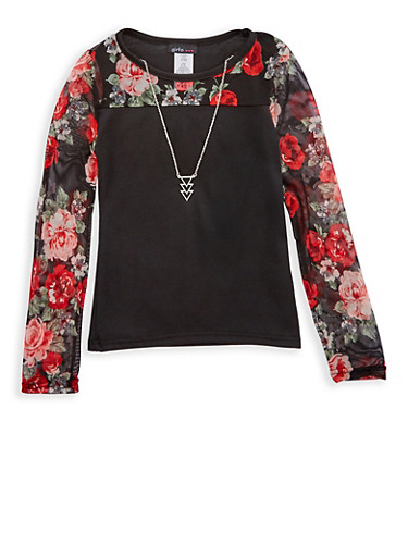 Girls 7-16 Floral Mesh Yoke Top with Necklace,BLACK,large