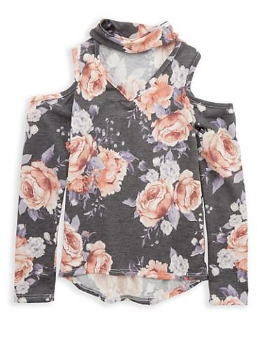 Girls 7-16 Floral Print Cold Shoulder Top,BLACK/BLUSH,large