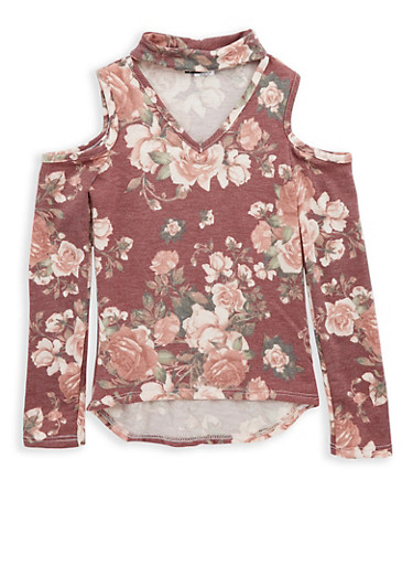 Girls 7-16 Berry Floral Cold Shoulder Top,BLUSH/BERRY,large
