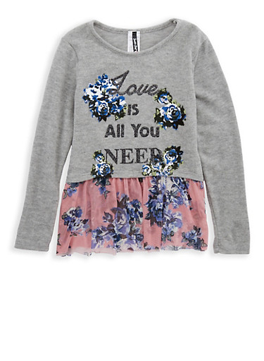 Girls 7-16 Love Graphic Knit Top with Floral Mesh Trim,HGRY/MAUVE,large