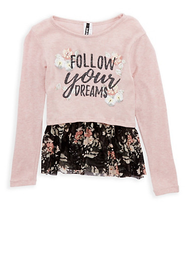 Girls 7-16 Dreams Graphic Top with Floral Mesh Hem,BLUSH,large