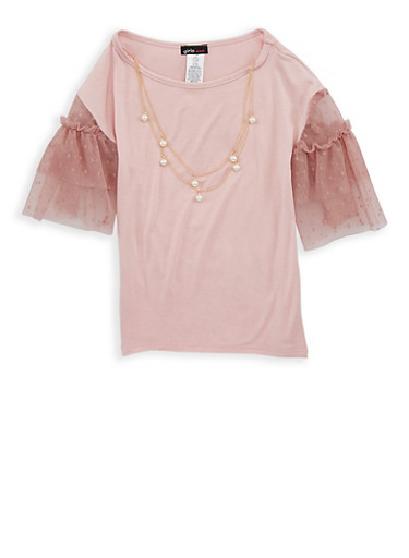 Girls 7-16 Mauve Tiered Sleeve Top with Necklace,MAUVE,large