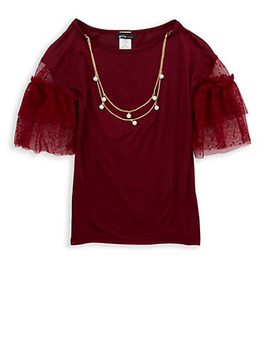 Girls 7-16 Tiered Mesh Sleeve Top with Necklace,WINE,large