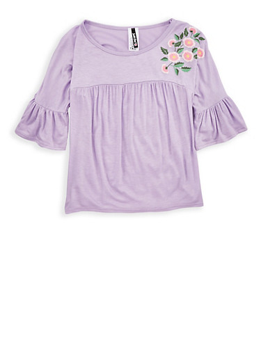 Girls 7-16 Flower Graphic Bell Sleeve Top,LILAC,large