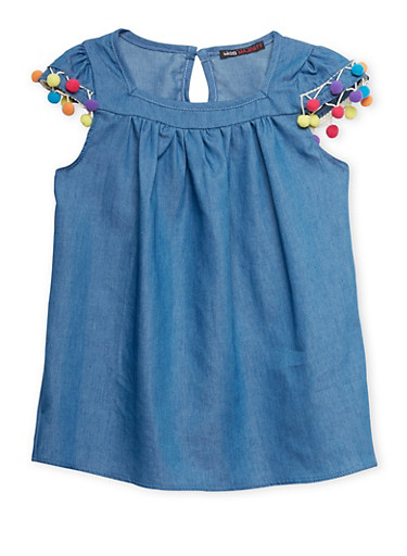 Girls 7-16 Chambray Babydoll Top with Pom Pom Trim,INDIGO,large