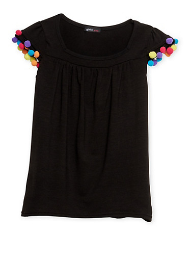 Girls 7-16 Flutter Sleeve Top with Pom Pom Trim,BLACK,large