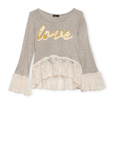 Girls 7-16 Lace Bell Sleeve Top with Love Graphic,HEATHER,large