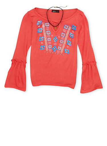 Girls 7-16 Graphic Top with Choker Necklace,CORAL,large