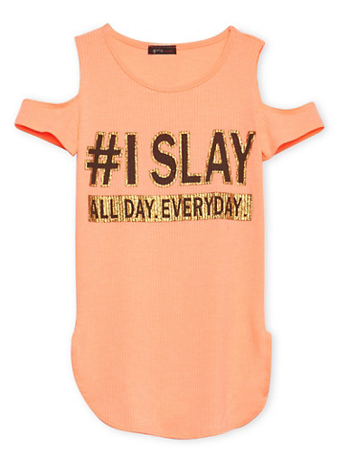 Girls 7-16 Tunic Top with I Slay All Day Every Day Graphic,CORAL,large