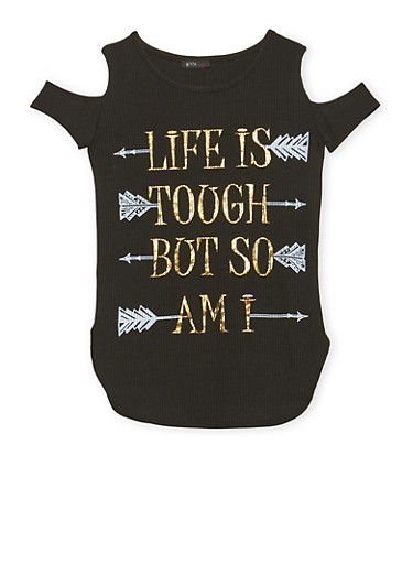 Girls 7-16 Cold Shoulder Top with Life is Tough Graphic,BLACK,large