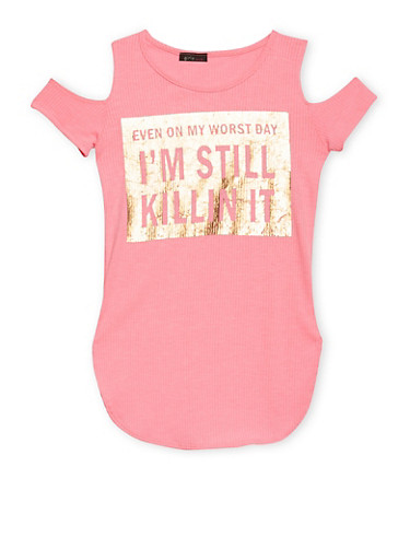 Girls 7-16 Cold Shoulder Top with Killin It Graphic,NEON PINK,large