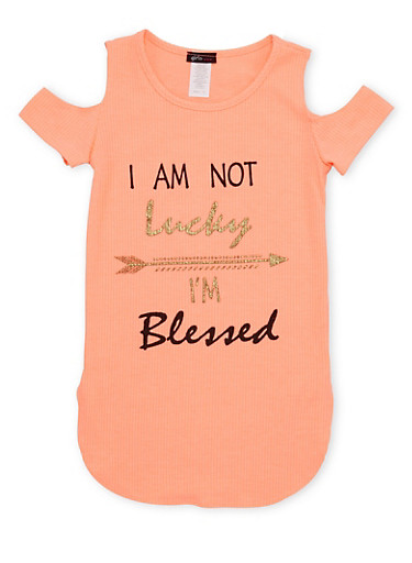 Girls 7-16 Cold Shoulder Top with I Am Not Lucky Im Blessed Print,CORAL,large