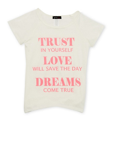 Girls 7-16 Raglan Sleeve Tee with Dreams Come True Graphic,IVORY,large