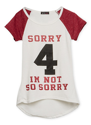 Girls 7-16 Tee with Not So Sorry Graphic,WINE,large