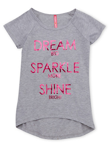 Girls 7-16 Tee with Dream Big Graphic,HEATHER,large