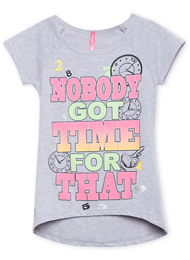 Girls 7-16 Graphic Tee with High Low Hem,HEATHER,large