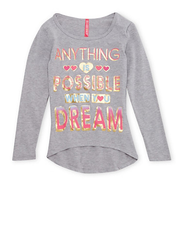 Girls 7-16 High Low Top with Anything is Possible Graphic,HEATHER,large