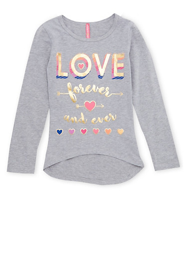 Girls 7-16 Top with Love Forever Graphic,HEATHER,large