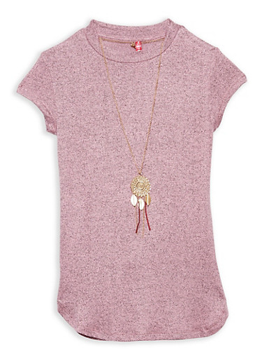 Girls 7-16 Marled Top with Necklace,MAUVE,large