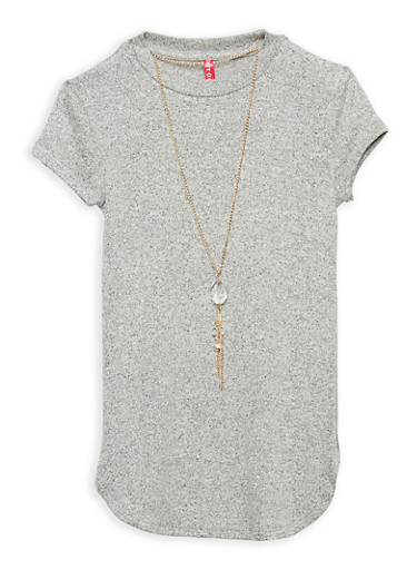 Girls 7-16 Round Hem Top with Necklace,HEATHER,large
