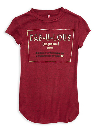 Girls 7-16 Fabulous Graphic Top,WINE,large
