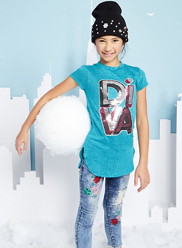 Girls 7-16 Sequin Graphic Tunic Top,JADE,large