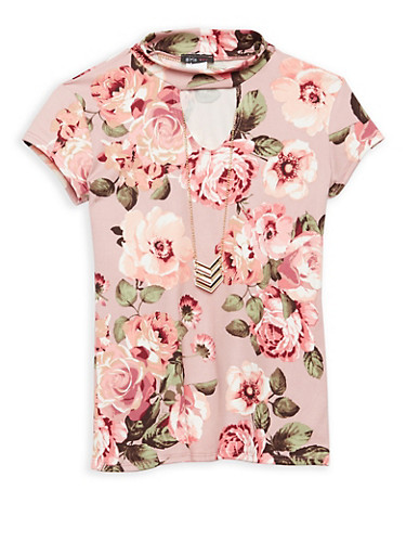 Girls 7-16 Soft Knit Floral Top with Necklace,ROSE,large