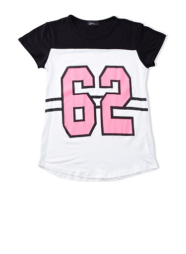Girls 7-16 Color Block 62 Flawless Graphic Top With Short Sleeves,BLACK,large