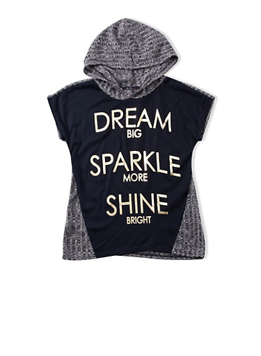Girls 7-16 Dream Sparkle More Shine Bright Foil Graphic Hooded Muscle Tee,BLACK,large