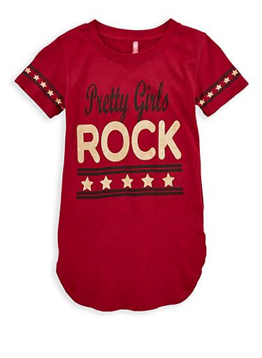 Girls 7-16 Pretty Girls Rock Graphic T Shirt,WINE,large