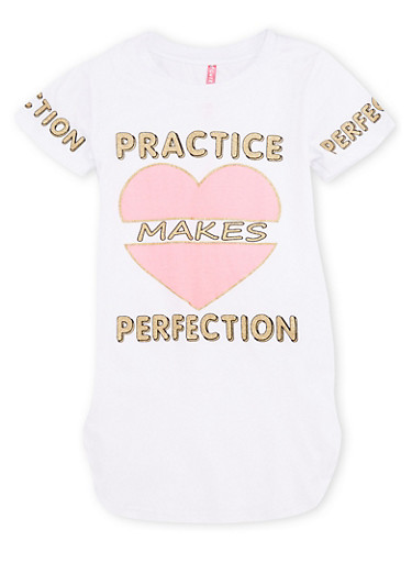 Girls 7-16 Practice Makes Perfection Graphic Top,WHITE,large