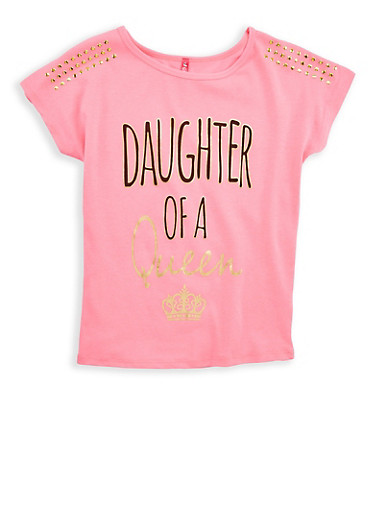 Girls 7-16 Queen Graphic Studded T Shirt,NEON PINK,large