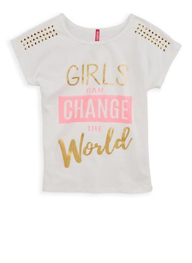 Girls 7-16 Change the World Studded Graphic T Shirt,IVORY,large