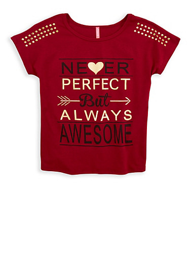 Girls 7-16 Always Awesome Studded Graphic T Shirt,WINE,large