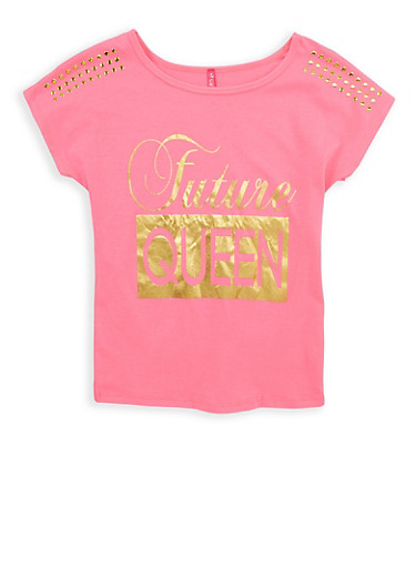 Girls 7-16 Future Queen Studded Graphic T Shirt,NEON PINK,large