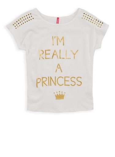 Girls 7-16 Princess Studded Graphic T Shirt,IVORY,large