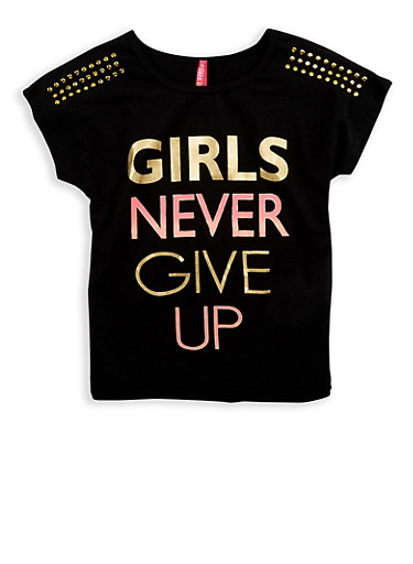 Girls 7-16 Girls Never Give Up Studded T Shirt,BLACK,large