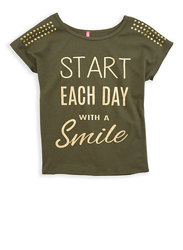 Girls 7-16 Smile Studded Graphic T Shirt,OLIVE,large