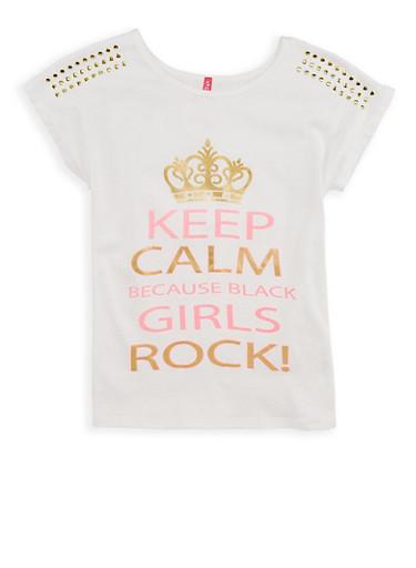 Girls 7-16 Girls Rock Studded Graphic T Shirt,IVORY,large