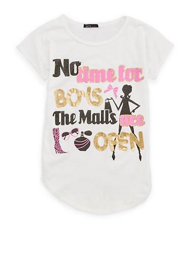 Girls 7-16 Glitter Graphic T Shirt,IVORY,large
