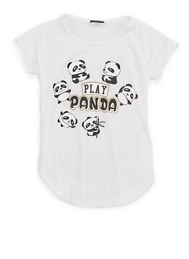 Girls 7-16 Panda Graphic T Shirt,IVORY,large