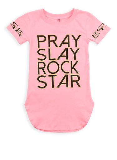 Girls 7-16 Glitter Graphic Tunic T Shirt,NEON PINK,large
